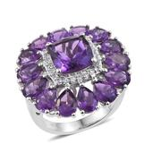 Lusaka Amethyst, White Topaz Platinum Over Sterling Silver Statement Ring (Size 7.0) TGW 13.200 cts.