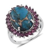 Mojave Blue Turquoise, Orissa Rhodolite Garnet Platinum Over Sterling Silver Ring (Size 6.0) TGW 15.00 cts.