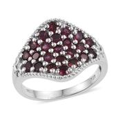 Anthill Garnet Platinum Over Sterling Silver Ring (Size 6.0) TGW 2.100 cts.
