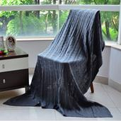 Gray 100% Acrylic Cable Knit Throw (80x80 in)