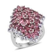 Pink Tourmaline, Tanzanite Platinum Over Sterling Silver Elongated Cluster Ring (Size 8.0) TGW 5.39 cts.