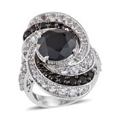 Thai Black Spinel, White Topaz Platinum Over Sterling Silver Elongated Ring (Size 7.0) TGW 11.450 cts.