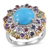 Arizona Sleeping Beauty Turquoise, Multi Gemstone 14K YG and Platinum Over Sterling Silver Statement Ring (Size 10.0) TGW 7.47 cts.
