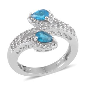 Malgache Neon Apatite, White Topaz Platinum Over Sterling Silver Bypass Ring (Size 7.0) TGW 1.570 cts.