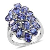 Tanzanite Platinum Over Sterling Silver Ring (Size 8.0) TGW 6.750 cts.