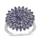 Tanzanite Platinum Over Sterling Silver Ring (Size 8.0) TGW 3.550 cts.