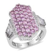 White Topaz, Madagascar Pink Sapphire Platinum Over Sterling Silver Elongated Cluster Ring (Size 9.0) TGW 4.57 cts.