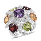 GP Amethyst, Multi Gemstone Platinum Over Sterling Silver Ring (Size 6.0) TGW 8.760 cts.