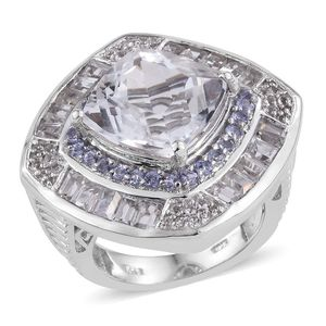XIA Kunzite, Tanzanite, White Topaz Platinum Over Sterling Silver Ring (Size 7.0) 5 TGW 8.080 cts.
