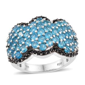 Malgache Neon Apatite, Thai Black Spinel Platinum Over Sterling Silver Cluster Ring (Size 7.0) TGW 4.560 cts.