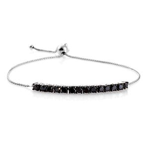 Black Diamond Platinum Over Sterling Silver Bracelet (Adjustable) Total Diamond Weight 2.00 Carat, Total Gem Stone Weight 2.000 Carat