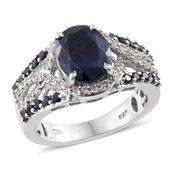 Kanchanaburi Blue Sapphire, White Zircon Platinum Over Sterling Silver Ring (Size 8.0) TGW 6.040 cts.
