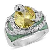 Simulated Yellow Diamond, Austrian Crystal, Enameled Stainless Steel Snake Ring (Size 7.0) TGW 16.000 cts.