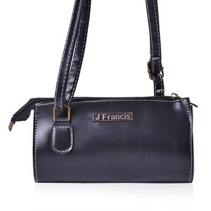 J Francis - Black Faux Leather Crossbody Bag (8x3x4 In)