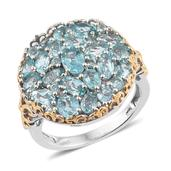 Madagascar Paraiba Apatite 14K YG and Platinum Over Sterling Silver Cluster Ring (Size 5.0) TGW 5.46 cts.
