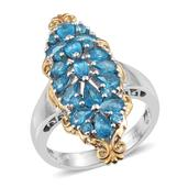 Malgache Neon Apatite 14K YG and Platinum Over Sterling Silver Ring (Size 8.0) TGW 3.280 cts.