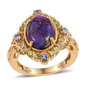 Mojave Purple Turquoise, Tanzanite, Hebei Peridot 14K YG Over Sterling Silver Openwork Ring (Size 10.0) TGW 6.870 cts.