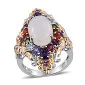 Sri Lankan Rainbow Moonstone, Multi Gemstone 14K YG and Platinum Over Sterling Silver Elongated Ring (Size 5.0) TGW 9.11 cts.