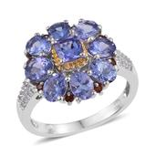 Tanzanite, Mozambique Garnet, White Topaz 14K YG and Platinum Over Sterling Silver Split Ring (Size 7.0) TGW 4.180 cts.