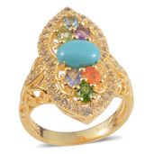 Arizona Sleeping Beauty Turquoise, Multi Gemstone 14K YG Over Sterling Silver Openwork Ring (Size 7.0) TGW 2.49 cts.