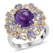 GP Amethyst, Tanzanite, Kanchanburi Blue Sapphire 14K YG and Platinum Over Sterling Silver Pierced Ring (Size 6.0) TGW 5.16 cts.