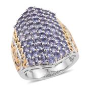 Tanzanite 14K YG and Platinum Over Sterling Silver Cluster Ring (Size 6.0) TGW 4.550 cts.