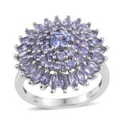 Tanzanite Platinum Over Sterling Silver Cluster Ring (Size 9.0) TGW 3.13 cts.