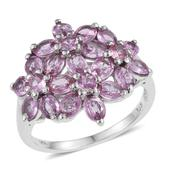 Madagascar Pink Sapphire Platinum Over Sterling Silver Floral Cluster Ring (Size 8.0) TGW 3.92 cts.