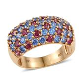 J Francis - 14K YG Over Sterling Silver Ring Made with Multi Color SWAROVSKI ZIRCONIA (Size 6.0) TGW 5.740 cts.