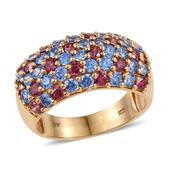 J Francis - 14K YG Over Sterling Silver Ring Made with Multi Color SWAROVSKI ZIRCONIA (Size 7.0) TGW 5.740 cts.