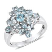 Madagascar Paraiba Apatite Platinum Over Sterling Silver Ring (Size 6.0) TGW 3.26 cts.