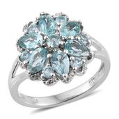 Madagascar Paraiba Apatite, White Topaz Platinum Over Sterling Silver Split Ring (Size 7.0) TGW 3.125 cts.