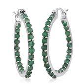 Kagem Zambian Emerald Platinum Over Sterling Silver Inside Out Hoop Earrings TGW 4.10 cts.