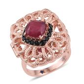 GP Niassa Ruby, Thai Black Spinel 14K RG Over Sterling Silver Ring (Size 6.0) TGW 5.170 cts.