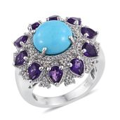Arizona Sleeping Beauty Turquoise, Amethyst, White Topaz Platinum Over Sterling Silver Statement Ring (Size 10.0) TGW 9.820 cts.