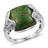 Mojave Green Turquoise, Russian Diopside, White Topaz Platinum Over Sterling Silver Ring (Size 8.0) TGW 11.970 cts.