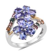 Tanzanite, Multi Gemstone 14K YG and Platinum Over Sterling Silver Bypass Ring (Size 8.0) TGW 4.45 cts.