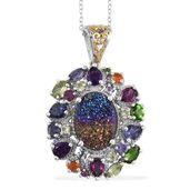 Rainbow Drusy Quartz, Multi Gemstone 14K YG and Platinum Over Sterling Silver Pendant With Chain (20 in) TGW 7.045 Cts.