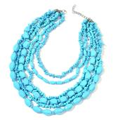 Blue Howlite Stainless Steel Bead Drape Necklace (18-20 in) TGW 1600.00 cts.