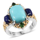 Sonoran Blue Turquoise, Lapis Lazuli, Russian Diopside 14K YG and Platinum Over Sterling Silver Openwork Ring (Size 9.0) TGW 7.91 cts.