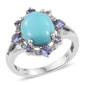 Sonoran Blue Turquoise, Tanzanite, White Zircon Platinum Over Sterling Silver Ring (Size 7.0) TGW 5.580 cts.