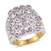 Madagascar Pink Sapphire 14K YG and Platinum Over Sterling Silver Open Cluster Ring (Size 9.0) TGW 2.850 cts.