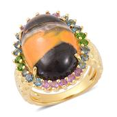 Bumble Bee Jasper, Multi Gemstone 14K YG Over Sterling Silver Ring (Size 7.0) TGW 12.800 cts.