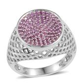 Madagascar Pink Sapphire Platinum Over Sterling Silver Openwork Signet Ring (Size 10.0) TGW 0.90 cts.