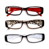 Black Red, Leopard and Zebra Print Set of 3 Readers Glasses + 2.0