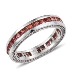 Orange Sapphire, White Topaz Platinum Over Sterling Silver Eternity Band Ring (Size 8.0) TGW 3.37 cts.