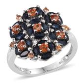 Multi Sapphire Platinum Over Sterling Silver Cluster Ring (Size 8.0) TGW 4.03 cts.
