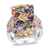 Multi Sapphire 14K YG and Platinum Over Sterling Silver Ring (Size 9.0) TGW 6.570 cts.