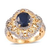 Kanchanaburi Blue Sapphire, White Topaz 14K YG Over Sterling Silver Openwork Ring (Size 8.0) TGW 6.050 cts.