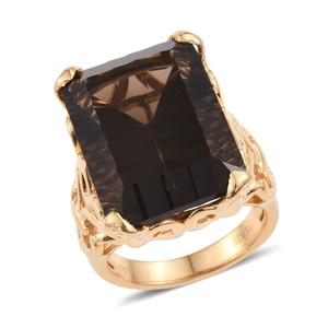 Brazilian Smoky Quartz 14K YG Over Sterling Silver Ring (Size 7.0) TGW 42.50 cts.